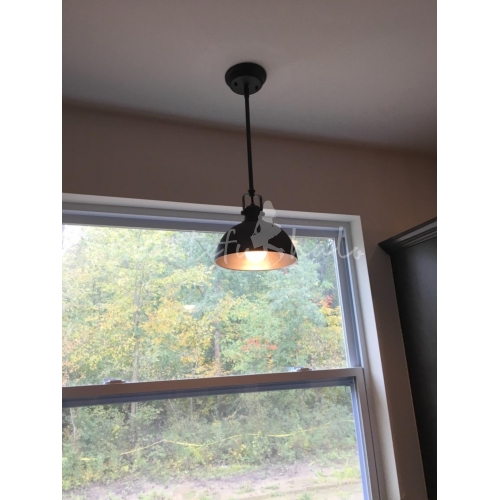 Industrial Style 12'' Wide Black Pendant Light With